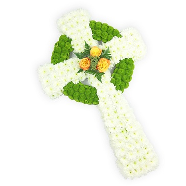 WHITE AND GREEN CELTIC CROSS